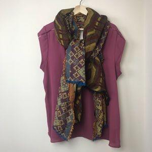 Loft Mulberry & Mustard Tapestry Scarf